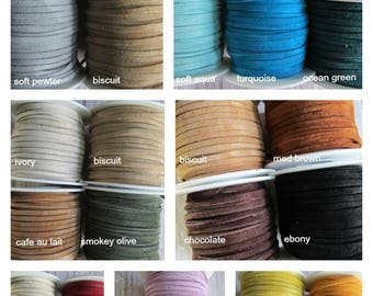 3mm  FULL SPOOL Suede, Choice of 3mm Suede Lace, Choose Color of Suede lace, Suede Lace, Suede, Leather, Spool of Suede