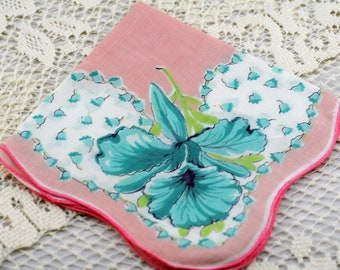 Vintage Hankie Pink White with Turquoise Flowers #A-9