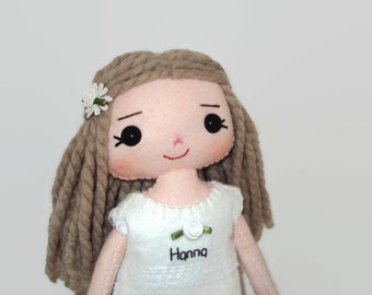 Rag doll with white rose bud dress. Can be personalised