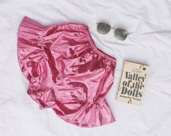 Dark Pink High Waist Tinsel Frilly Shorts 60s 70s Shorts Summer Festival Party