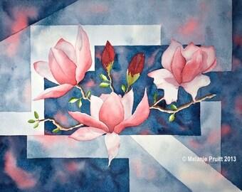 Magnolia Tree ORIGINAL 12x16 spring bloom blooming branch pink blue Watercolor Painting by Melanie Pruitt EBSQ