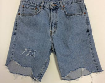 Tattered Levi Cut off Asymetrical  Raw Destroyed Shorts 33
