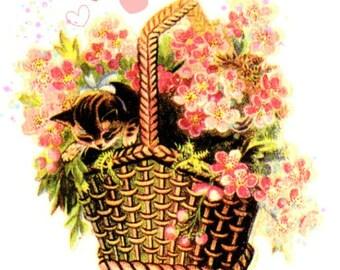 "Cross Stitch Pattern for Instant Download, "" kitten in basket of flowers"", cross stitch chart"