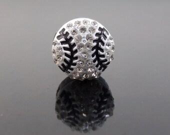 1pc Baseball Slide Charm Symbol Full Rhinestone Wholesale 8mm Slide Charms Crystal Beads Slide Bracelet Silver Plated Letters DIY Jewelry