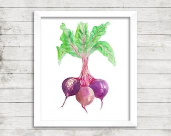 Beet Watercolor Print. Vegetable Watercolor. Vegetable Art. Veggie Art. Kitchen Art. Housewarming Gift. Beet Art. Beet Print.