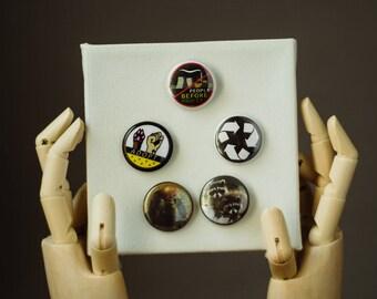 Be Kind Pin | Buttons | Pins | Punk Button | Punk Pin | Pinback Pin | Recycle Pin | Adopt Button | Environmentalist | Raccoon Pin | Pin Pack