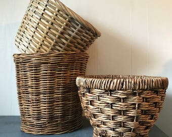 large bamboo plant baskets - round brown rattan planters - boho woven home storage