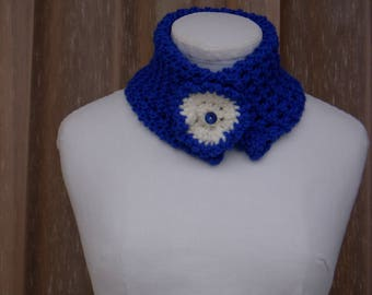 Scarf collar blue hand knitted wool