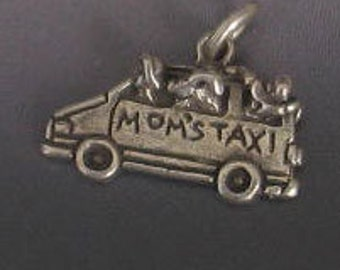 SALE Vintage Sterling Silver Mom's Taxi Charm