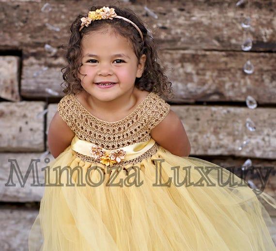 Gold Flower girl dress, gold birthday dress, gold flower girl dress, golden princess dress, gold tulle dress, gold luxury girls dress