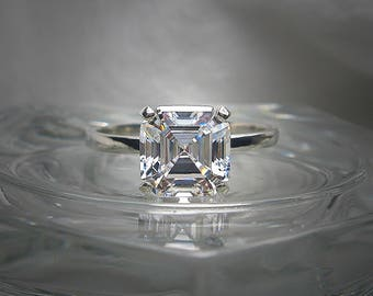 High Quality 8mm (3 carats) Asscher Cubic Zirconia Solitaire Sterling Silver Made to Order