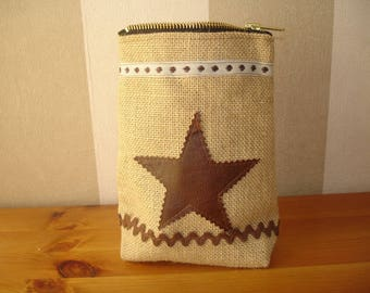 Colorful pouch in Burlap and its star