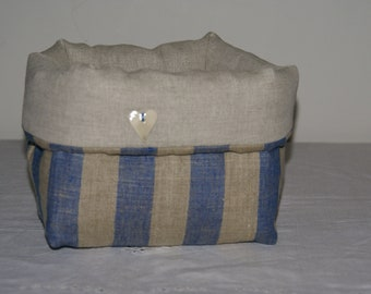 Fabric basket Organizer padded blue stripes linen and Twine