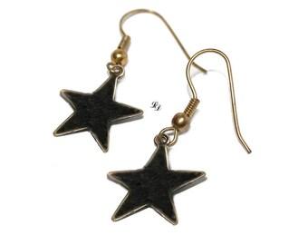 Black star earrings, enamel earrings, womans, teenagers, boho, rocker, space, modern, gothic, earhooks , ear clips - Free shipping!