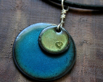 Handstamped Heart Necklace, Heart Jewelry, Copper Enamel Necklace, Blue and Green, Handstamped Infinity Circle