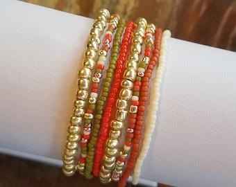 Seed bead bracelet, beaded bracelet, stretch bracelet, beaded jewelry, bracelet set of 8, stretch bracelet set, gold bracelet, boho set