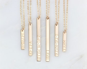 Personalized Roman Numeral Vertical Bar Necklace / Customized 14k Gold Filled, Sterling Silver, 14k Rose Gold Fill, GLDN GN130_V