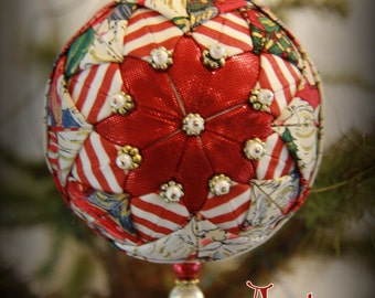 Handmade Quilted & Beaded Christmas Ball Ornament Red White