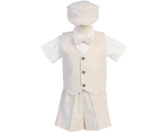 Suit boy blue beige and white set for boy with short pants, bow tie, shirt and Cap beret vest