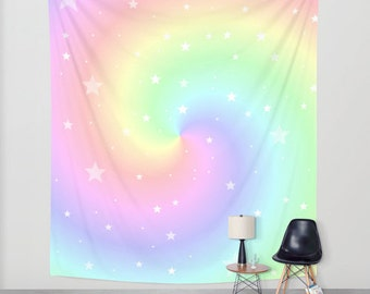 Rainbow Twist and Stars, Wall Tapestry, Indoor, Outdoor, Pastel Colors, Soft, Nursery, Wall Art, Dreamy, Fantasy, Wedding, Whimsy, Home Deco