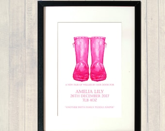 PERSONALISED Baby Girl Poster, New baby Girl, Baby Boy, Puddle Jumper; Wellies