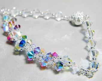 """Custom Color Swarovski Spiral Bracelet Beadweaving Silver - """"Bella Spiral Bracelet"""""""