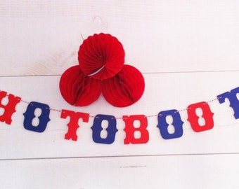 Small Garland photobooth-10 letters, red and blue - vintage wedding decor