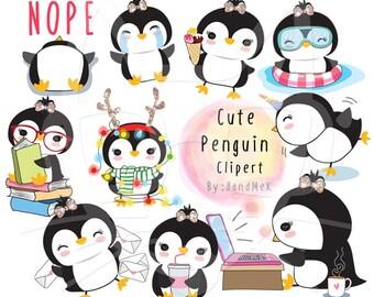 Cute Penguin ,Kawaii penguin clipart instant download PNG file - 300 dpi