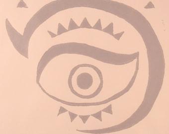 The Evil Eye block print