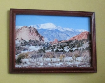 doll house miniature framed photo mountain scene