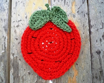 Rustic Coasters - Crochet Strawberry Coasters - Fruit Coasters - Crochet Coasters - Mothers Day Gift - Rustic Home Decor - Hostess Gift