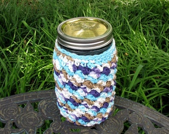 Cozy made for QUART size Mason jar - cup - drinking glass - gift container