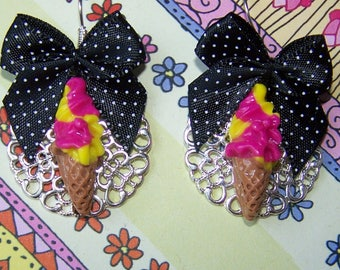 Italian ice cream fimo or polymer clay earrings