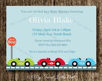 Race Car invitation - Car invitation - Transportation invitation - Race Car printable - race car baby shower - car birthday - blue race car