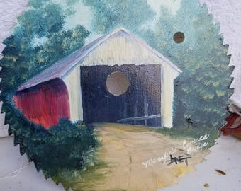 Covered Bridge Painting on Saw Blade