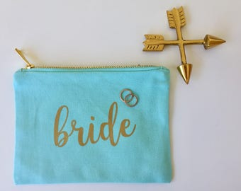 Personalized Cosmetic Bag - Bride to be Gift - Bridesmaid Gift - Canvas Bag - Bridal Party Gift - Personalized Makeup Bag -Wedding Day Gift