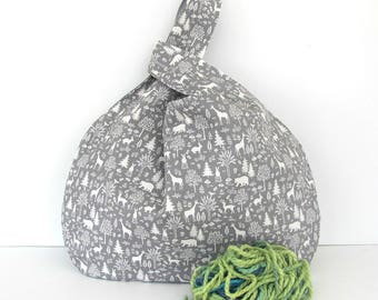 Knitting Project Bag gift for Knitter, Grey Knitting Bag, Large Handbag, Crochet Project Bag, Knitting Accessories