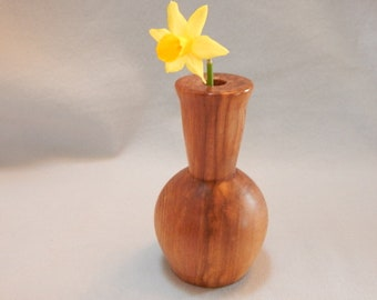 Graduation gift. gift for her, cedar wood bud vase, brown wood with unique grain patterns