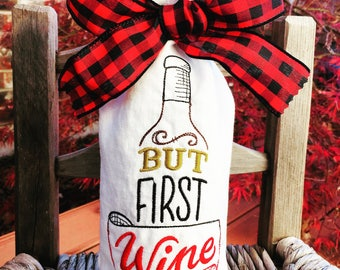 Embroidery Wine Bottle Bag, Handmade Wine Bag, Linen Wine Bottle Bag, Wine Gift Bag Special Occasion