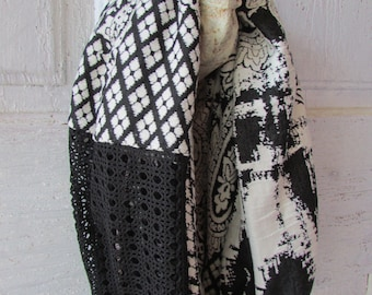 Infinity Scarf Black and White tube scarf cowl scarf fashion scarf classic