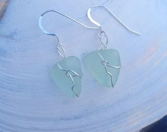 Color of Waves Turquoise Seaglass Sterling Earrings