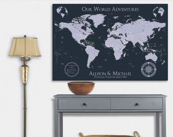 World Travel Map World Map Wall Art World Map Push Pin Map Art Personalized Map of World Map Canvas Travel Gifts Travel Map Pushpin World