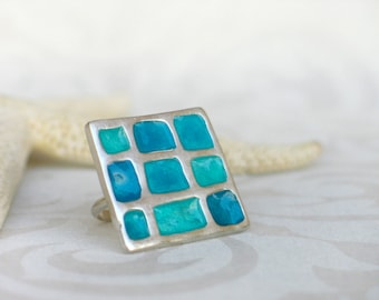 Blue resin Sterling Silver Ring, square color Ring