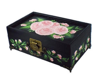 Hand-Painted Pink Roses Jewelry Box with Painted Mirror Bridal Jewelry Box Personalized Girl's First Jewelry Box for Teen Custom Jewelry Box