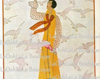 1926 Vogue Damsel with Doves Cover Parisian André E. Marty Art Deco Dove Bird Lover Haute Couture French Fashion Paris Dressmaker Wall Decor