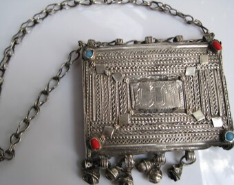 Vintage Silver Koran Box or Quran Holder Pendant
