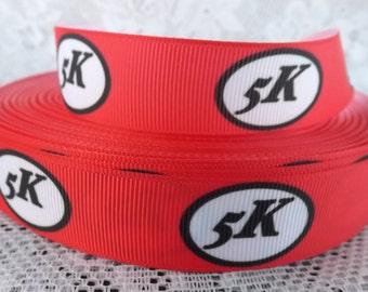 Red Marathon Grosgrain ribbon 5k running ribbon 5k marathon ribbon 7/8 red marathon ribbon