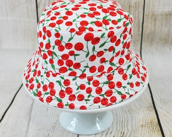Cherry Bucket Hat, Toddler Bucket Hat, Toddler Cherry Hat, Toddler Summer Hat, Kids Sun Hat, Little Girl Hat, Girl Bucket Hat, Kids Hat