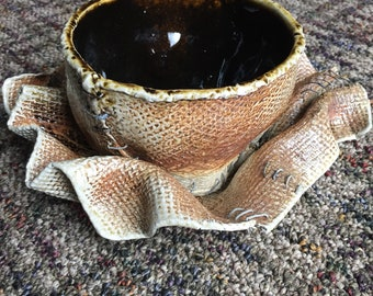Burlap Bowl and Saucer (Soda Fired 3)