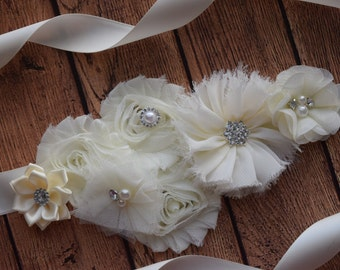 Flower Sash,  Ivory Sash , flower Belt, maternity sash, wedding sash, maternity sash girl, flower girl sash